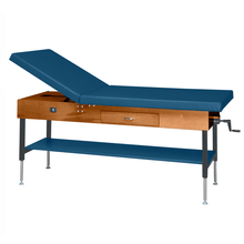 "Load image into Gallery viewer, Wooden Treatment Table - Manual Hi-Low Shelf - 78""L x 30""W x 25""-33""H dark slate"