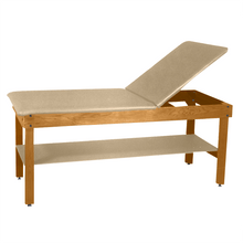 "Load image into Gallery viewer, Wooden Treatment Table - H-Brace Shelf, Adjustable Back Upholstered 72""L x 30""W x 30""H natural sand"
