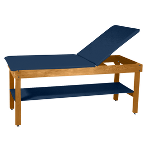 "Wooden Treatment Table - H-Brace Shelf, Adjustable Back Upholstered 72""L x 30""W x 30""H natural slate"