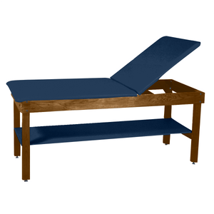 "Wooden Treatment Table - H-Brace Shelf, Adjustable Back Upholstered 72""L x 30""W x 30""H dark slate"