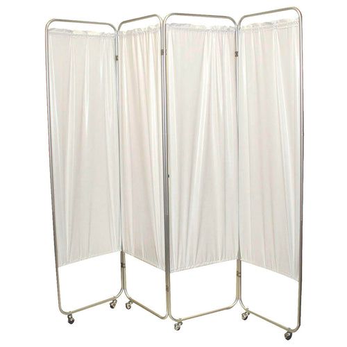 Standard Foldable Privacy Screen with Casters - Vinyl white