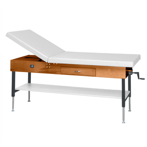 "Wooden Treatment Table - Manual Hi-Low Shelf - 78""L x 30""W x 25""-33""H dark white"