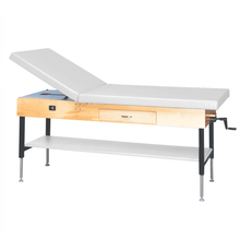 "Load image into Gallery viewer, Wooden Treatment Table - Manual Hi-Low Shelf - 78""L x 30""W x 25""-33""H drawer natural white"