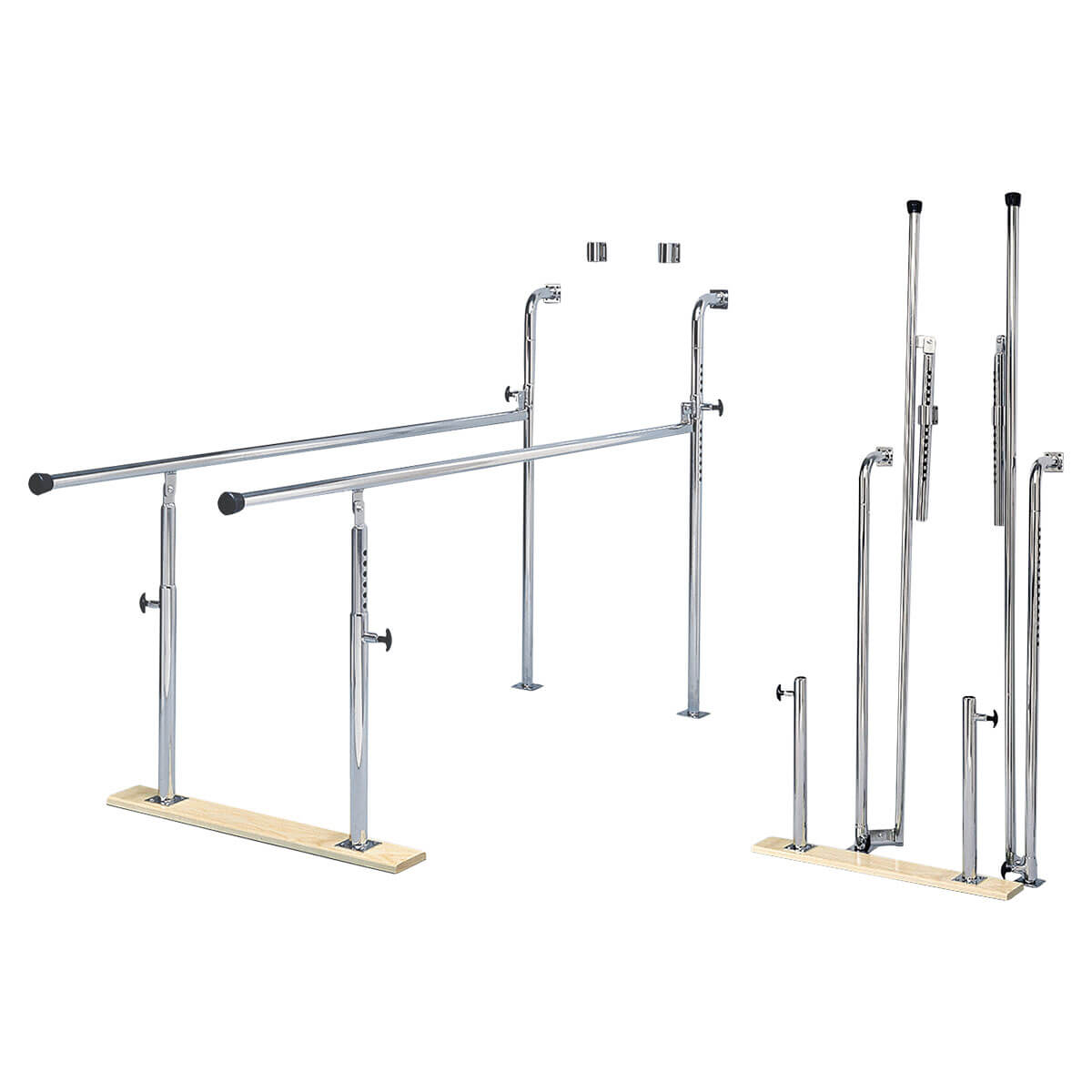 Wall-Mounted Folding Parallel Bars with Wood Base and Adjustable Height (28