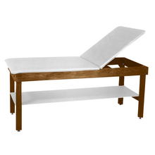 "Load image into Gallery viewer, Wooden Treatment Table - H-Brace Shelf, Adjustable Back Upholstered 72""L x 30""W x 30""H white dark"