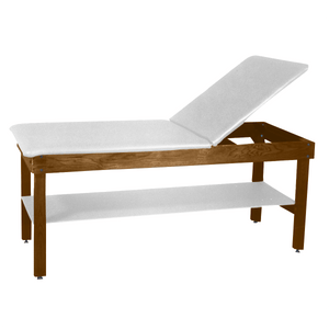 "Wooden Treatment Table - H-Brace Shelf, Adjustable Back Upholstered 72""L x 30""W x 30""H white dark"