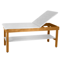 "Load image into Gallery viewer, Wooden Treatment Table - H-Brace Shelf, Adjustable Back Upholstered 72""L x 30""W x 30""H natural white"