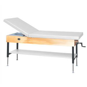 "Wooden Treatment Table - Manual Hi-Low Shelf - 78""L x 30""W x 25""-33""H without drawer natural white"