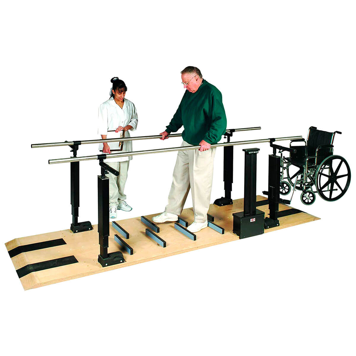 Wood Platform Mounted Parallel Bars - Electric Height/Manual Width Adjustable