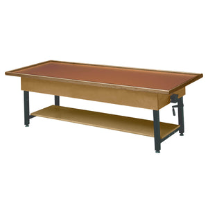 Wooden Treatment Table - Manual Hi-Low Raised-Rim with Shelf - without drawer- dark walnut
