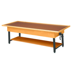 Wooden Treatment Table - Manual Hi-Low Raised-Rim with Shelf without drawer natural