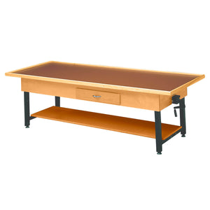 Wooden Treatment Table - Manual Hi-Low Raised-Rim with Shelf  with drawer natural