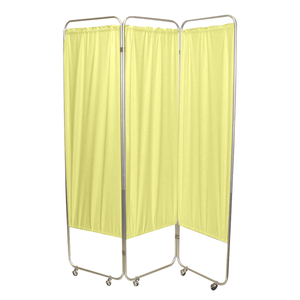 Standard Foldable Privacy Screen with Casters - Vinyl 3 pannel yellow