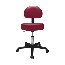 "Load image into Gallery viewer, Pneumatic Mobile Stool Chair with Upholstery 18""- 22"" H with back burgundy"