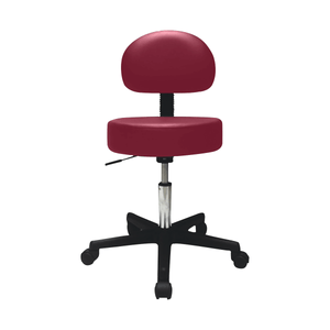"Pneumatic Mobile Stool Chair with Upholstery 18""- 22"" H with back burgundy"