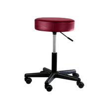 "Load image into Gallery viewer, Pneumatic Mobile Stool Chair with Upholstery 18""- 22"" H no back burgundy"