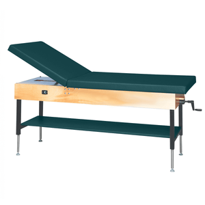 "Wooden Treatment Table - Manual Hi-Low Shelf - 78""L x 30""W x 25""-33""H without drawer natural forest green"