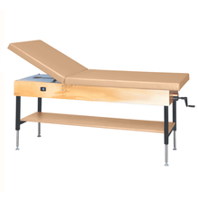 "Load image into Gallery viewer, Wooden Treatment Table - Manual Hi-Low Shelf - 78""L x 30""W x 25""-33""H without drawer natural sand"