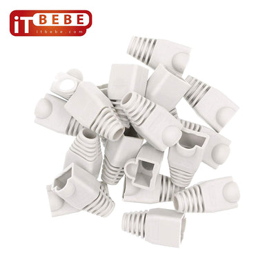 RJ45 Strain Relief Boot 100-Count Set for Cat5 Cat5e, Cat6 and Cat6A Connectors (White)