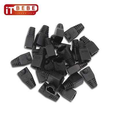 RJ45 Strain Relief Boot 100-Count Set for Cat5 Cat5e and Cat6 Connectors color black