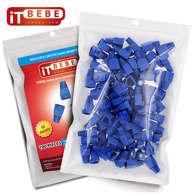 RJ45 Strain Relief Boot 100-Count Set for Cat5 Cat5e, Cat6 Connectors (Blue)