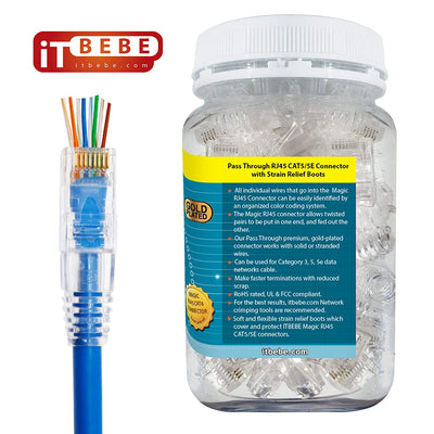 ITBEBE Gold-Plated Pass Through RJ45 Cat5/5e Connectors and Cable Strain Relief 50/50 Kit
