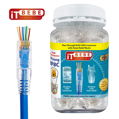 ITBEBE Gold-Plated Pass Through RJ45 Cat6 Connectors and Cable Strain Relief 50/50 Kit