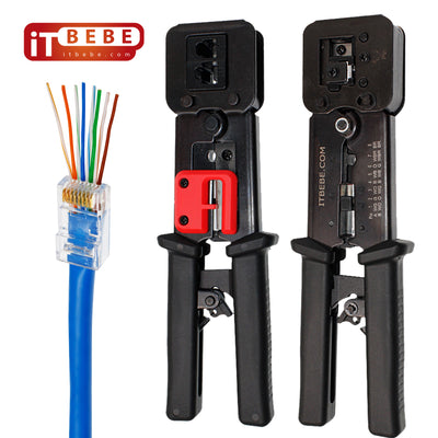 RJ45 Crimping Tool Made of Hardened Steel with Wire Cutter Stripping Blades and Textured Grips