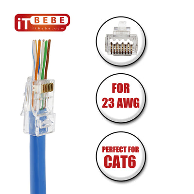 ITBEBE 100 Pieces Gold Plated Pass Through RJ45 CAT6 Bold Connector for 23 AWG cables