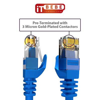 ITBEBE Cat6 Ethernet Cable Snagless RJ45 Network Patch Cables Pre-Terminated with 3 Micron Gold-Plated Contacts and Strain Relief for Crystal Clear High-Speed Data Transfers (5-Feet, 5-Pack)