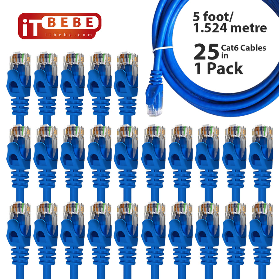ITBEBE Cat6 Ethernet Cable Snagless RJ45 Network Patch Cables Pre-Terminated with 3 Micron Gold-Plated Contacts and Strain Relief for Crystal Clear High-Speed Data Transfers 5-Feet, 10-Pack