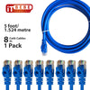 ITBEBE Cat6 Ethernet Cable Snagless RJ45 Network Patch Cables Pre-Terminated with 3 Micron Gold-Plated Contacts and Strain Relief for Crystal Clear High-Speed Data Transfers (5-Feet, 8-Pack)