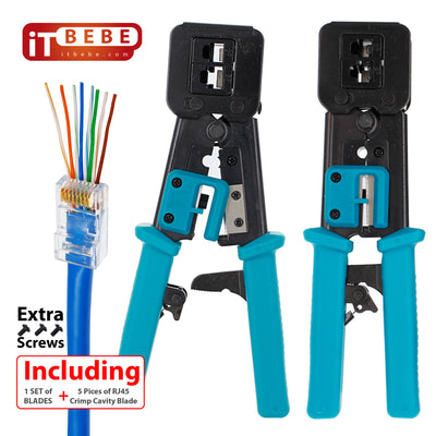 Premium quality passthrough RJ45 Crimping Tool with extra 10 blades and 3 screws