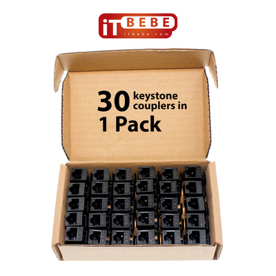 ITBEBE RJ45 Keystone Jack Inline Coupler – Female to Female Insert Coupler for Cat6, Cat5 and Cat5E Ethernet Cables – UL Listed (30-Pieces, Black)