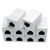ITBEBE RJ45 in-Line Coupler Connector Cat7 Cat6 Cat5E Ethernet Network Cable Extender Adapter (10-Pieces, White)