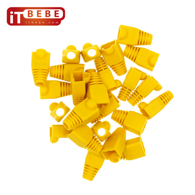 RJ45 Strain Relief Boot 100-Count Set for Cat5 Cat5e, Cat6 Connectors (Yellow)