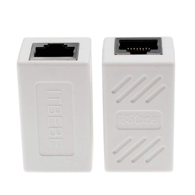 ITBEBE RJ45 in-Line Coupler Connector Cat7 Cat6 Cat5E Ethernet Network Cable Extender Adapter (2-Pieces, White)