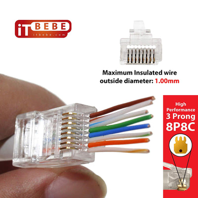 ITBEBE 100 Pieces Gold Plated Pass Through RJ45 cat5 cat5e Connector for 24 AWG cables