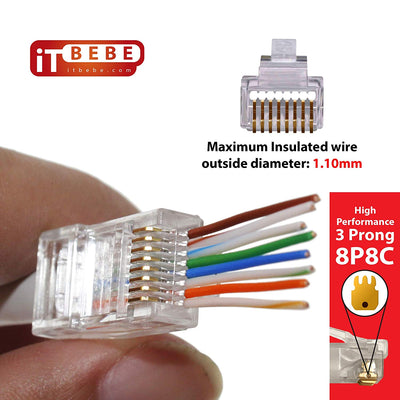 ITBEBE 100 Pieces Gold Plated Pass Through RJ45 CAT6 Connector for 24 AWG cables