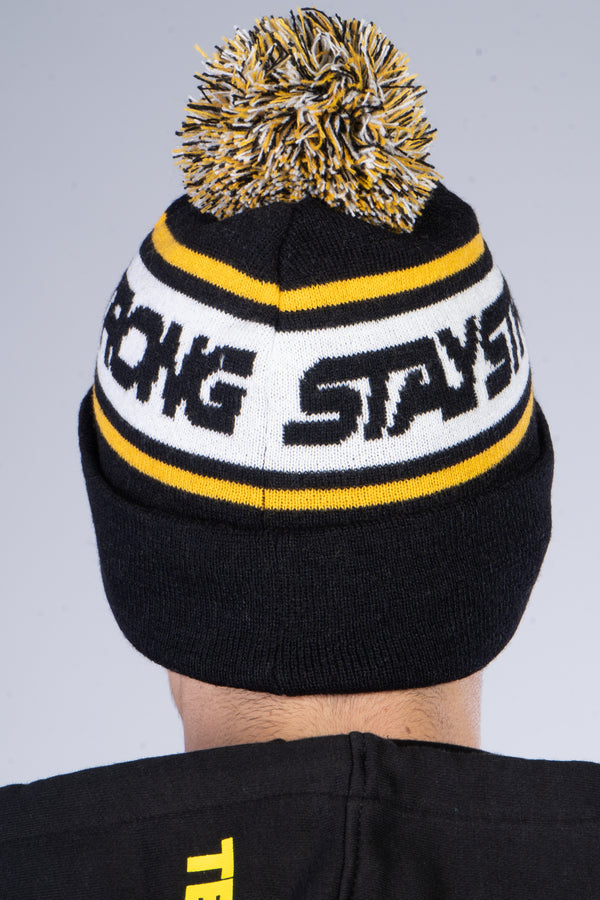 BOBBLE / BEANIE / CUFF / BLACK & YELLOW
