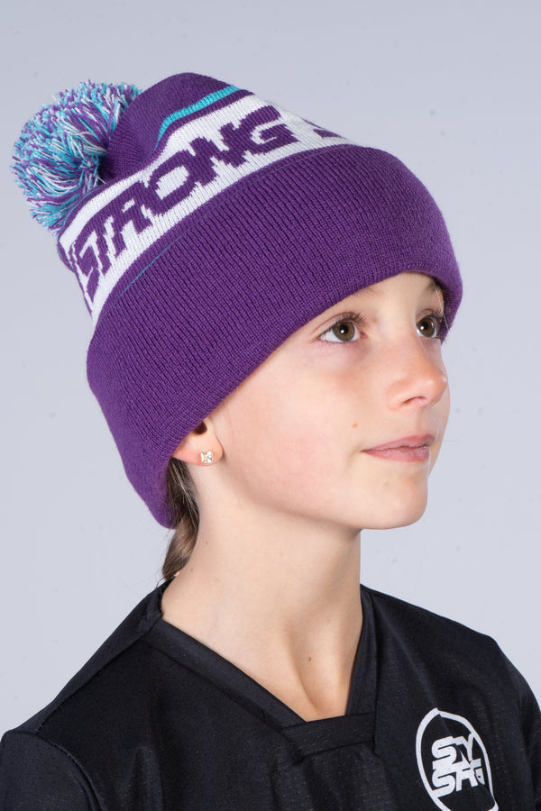 BOBBLE / BEANIE / CUFF / PURPLE & TEAL
