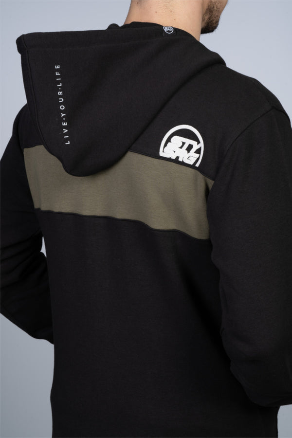 CUT OFF ZIP / HOODY / BLACK/ OLIVE