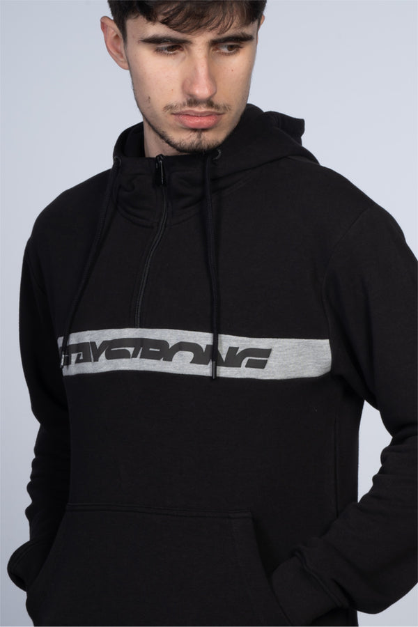 CUT STRIPE 1/4 ZIP / HOODY / BLACK GREY