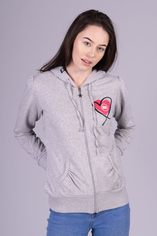 LUV HEART WOMANS / HOOD / HEATHER GREY