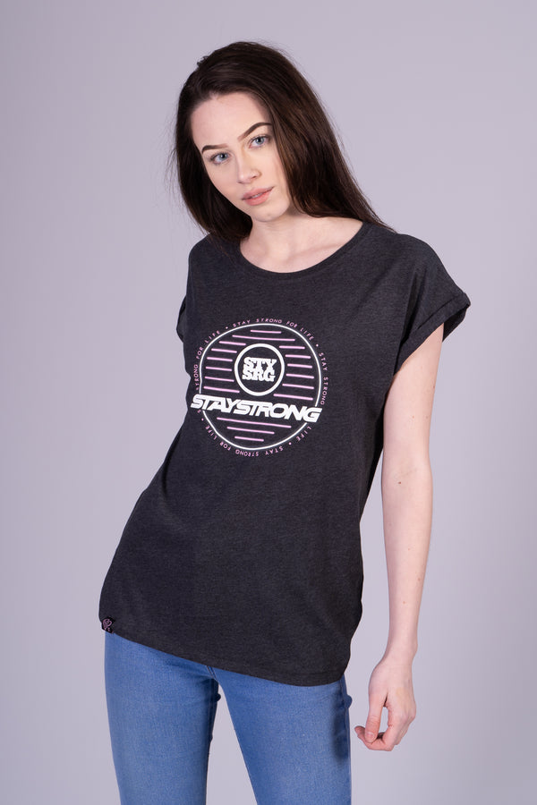 NEON CIRCLE WOMANS / TEE / CHARCOAL