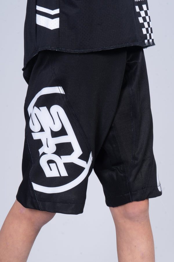 2020 STAY STRONG / RACE SHORTS / KIDS / BLACK WHITE