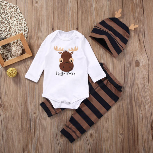 Xmas Little Moose - Baby Boy Romper Jumpsuit - Boxed Babies