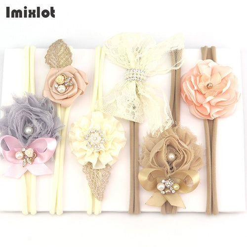 Simulated Pearl Ribbon Lace Flower Headband - Boxed Babies