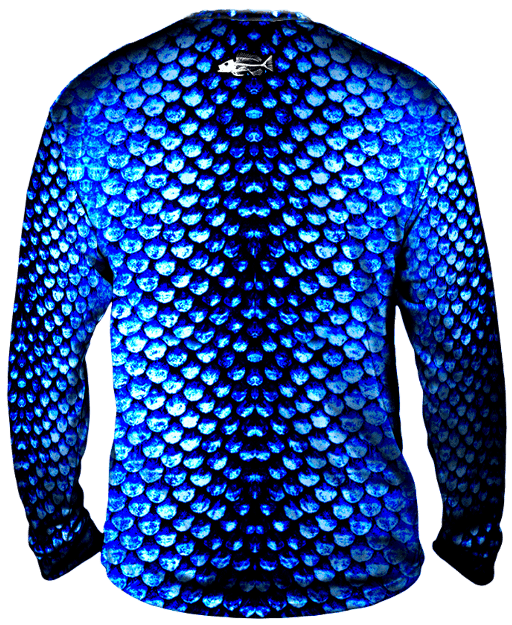 Bold Aqua Scales Long Sleeve Big & Tall
