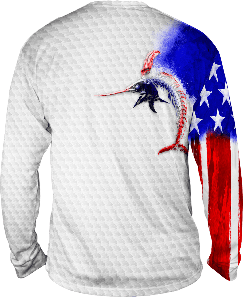 Youth Billfish Stars & Stripes Long Sleeve - Bones Outfitters